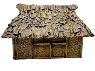 Traditional Asia Pacific house with woven bamboo walls and palm leaves roof 1:56 (28mm)